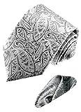 LORENZO CANA Italy Pure Silk Business Neck Tie Hanky Set Silver Paisley 8445901