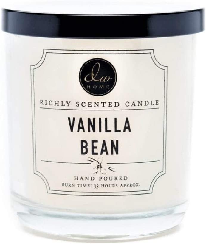DW Home Richly Scented Candle, Vanilla Bean, in Med Size Frosted Glass Jar with Lid