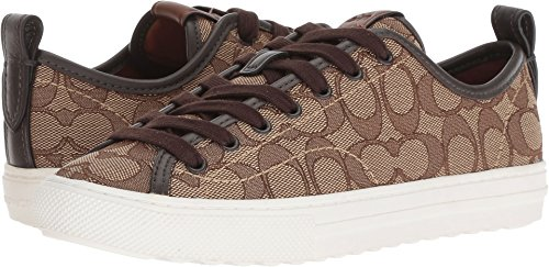 Coach Women's C121 Low Top Sneaker Khaki/Chestnut Signature C 7 M US