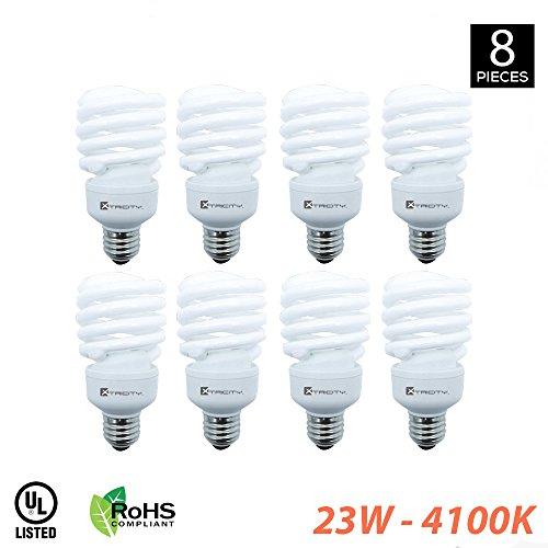 4100 Compact - Compact Fluorescent Light Bulb T2 Spiral CFL, 4100k Cool White, 23W (100 Watt Equivalent), 1520 Lumens, E26 Medium Base, 120V, UL Listed (Pack of 8)