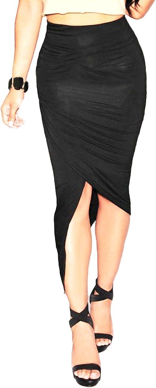 Sleekwear-asimétrico drapeado falda de noche, Negro: Amazon.es ...