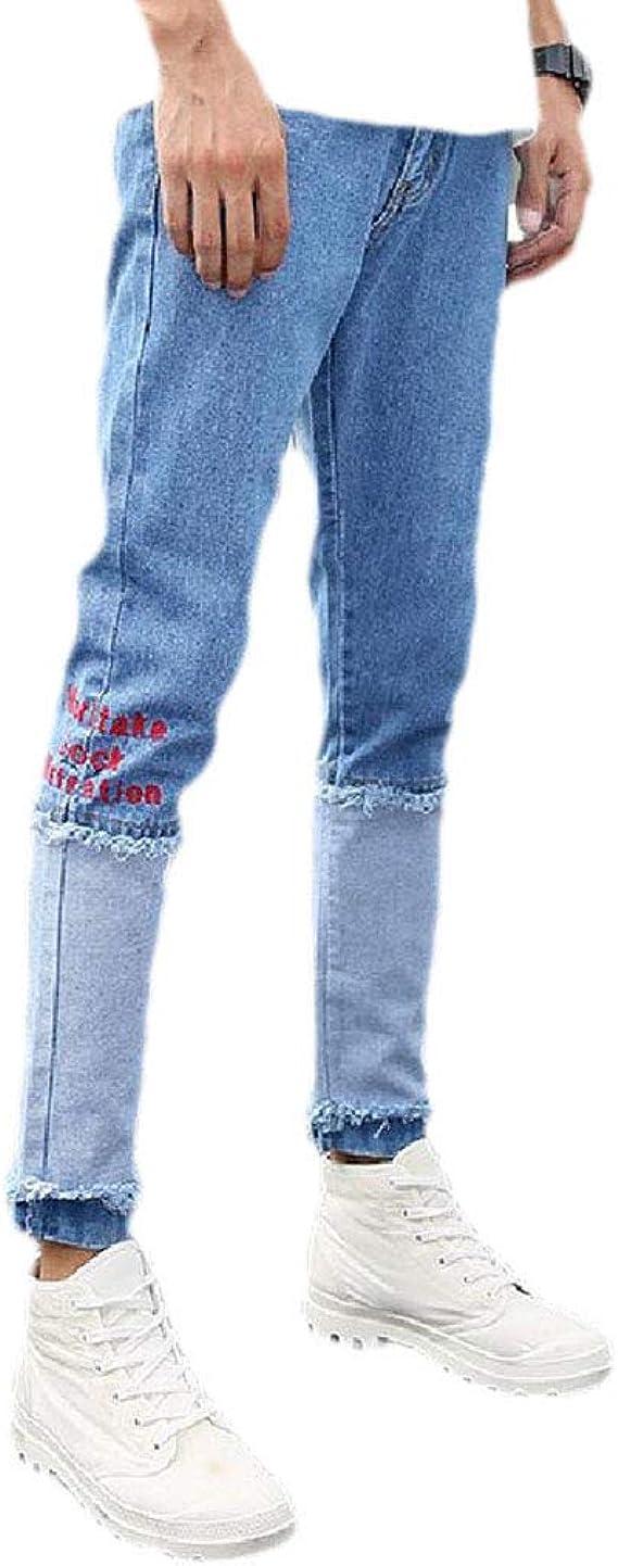 Tootess 男性 スリム テーレッド フィット ストレッチ ローウエスト ファッション ポケット デニム パンツ