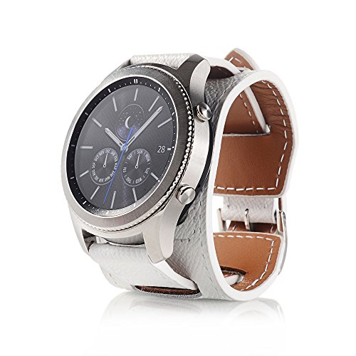 Huamecl Soft Leather Cuff Strap Wrist Watch Replacement and Adjustable Bracelet for Samsung Gear S3 Frontier/Classic Watch-White