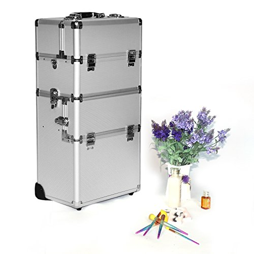 Professional Makeup Artist Hair Stylists 3-in-1 Interchangeable Aluminum Rolling Makeup Case Cosmetic Train Box Trolley With Security Lock (Sliver L)