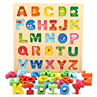 Jamohom Wooden Alphabet Number Puzzle Set Educational Toy for Kids 1 2 3 Years Old