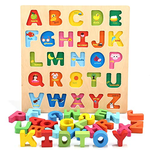 (Jamohom Wooden Alphabet Puzzle Baby Learning Letters Blocks ABC Chunky Puzzle Educational Toys for Boy and Girl Gifts)