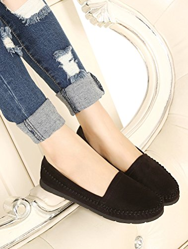MatchLife Women Leather Flat Pumps Shoes Style2-Black 6cPVF0