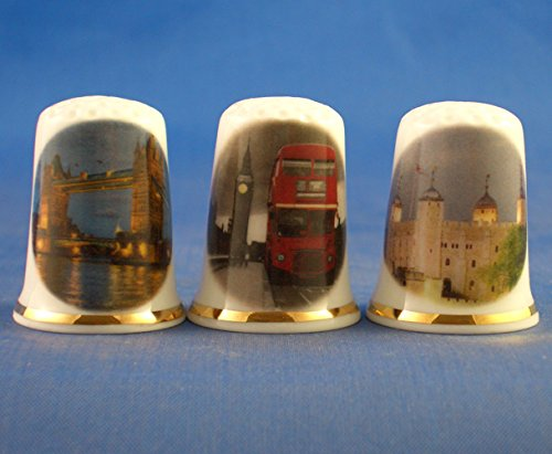 Porcelain China Collectable Thimbles - Set of Three London Assorted by Birchcroft
