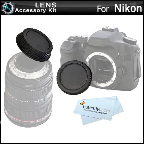 Rear Lens Cap and Camera Body Cover Cap for NIKON DSLR Cameras Nikon Df, D7100, D7000, D5200, D5300, D3300, D5100, D3200, D3100, D800, 810, D700, D600, D610, D300S, D90, D750, D7200 Digital SLR (Digital Slr Camera Body Lens)