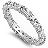 New Round and Baguette White Cz Band .925 Sterling Silver Ring Sizes 4-12