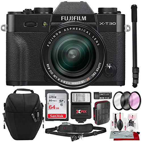 Fujifilm X-T30 4K Wi-Fi Mirrorless Digital Camera with XF 18-55mm Lens Kit – Black with 64GB Deluxe Bundle and Travel Photo Cleaning Kit