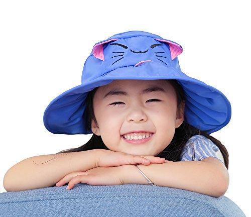 Casquette Pêcheur Motif Acvip Vide Calotte En Plage Mignon Soleil voyage Chapeau Bleu uv Chat Hat De Enfant Coton Anti Bob SY4pX