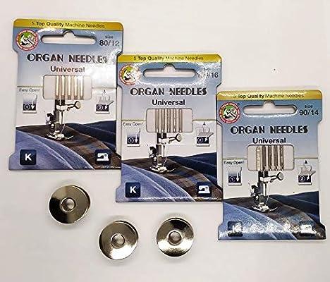 3 Estuches Agujas surtidas ORGAN para maquinas de coser y 3 ...