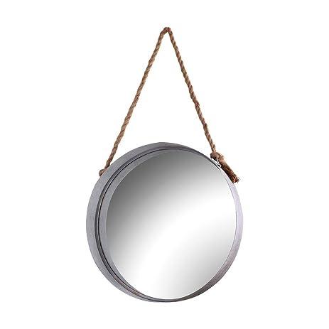 Amazon.com: 24 in. x 24 in. Round Galvanized Metal Framed Mirror ...