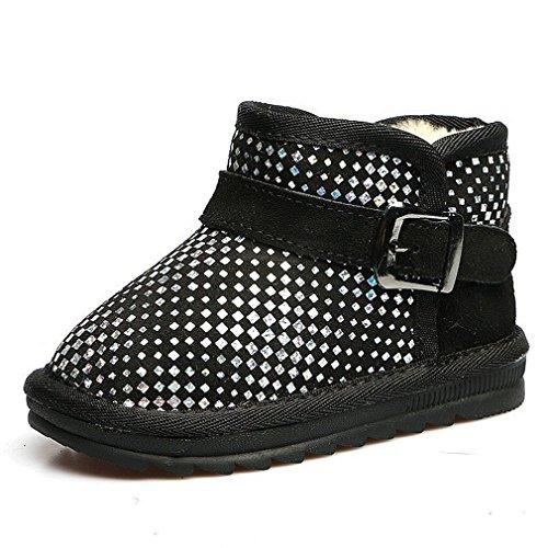 CYBLING Boys Girls Winter Warm Anti-Slip Belt Buckle Boots Toddler Winter Warm Shoes