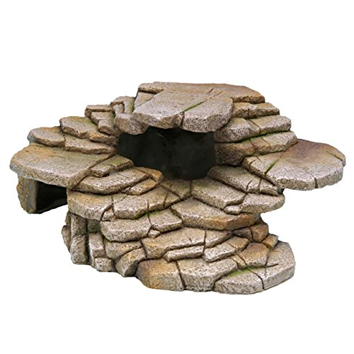Penn-Plax Shale Step Ledge and Cave Hide-Out Medium Aquarium -