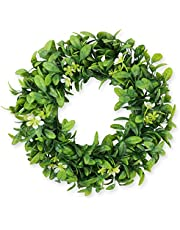 """Falflor 17"""" Green Wreath with Flowers Farmhouse Greenery Leave Artificial Wreath for Front Door Hanging Wall Window Party Decor (17"""")"""
