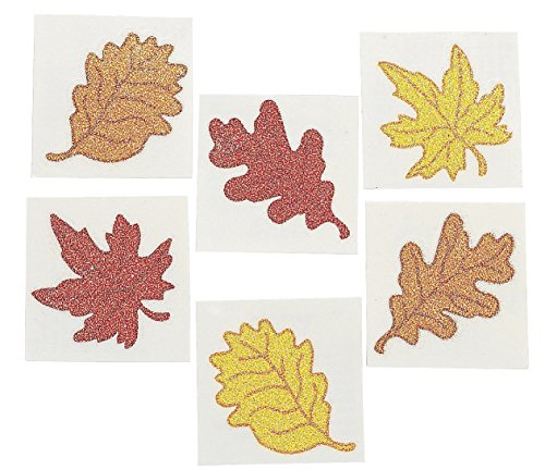 Leaf Glitter Tattoos - 6 Dozen - Fall, Autumn or Thanksgiving Theme Party Supplies! -