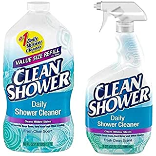 Clean Shower, Daily Shower Cleaner - No Scrub Bundle Pack [32oz. Spray Bottle & 60oz. Refill Bottle]
