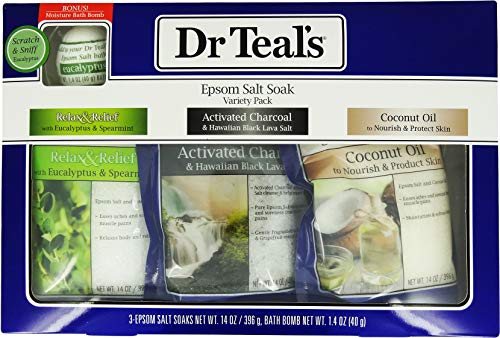 Dr Teal's Epsom Salt Soak Variety 3-Pack Travel Gift Set with Eucalyptus Bath - Eucalyptus Set Gift