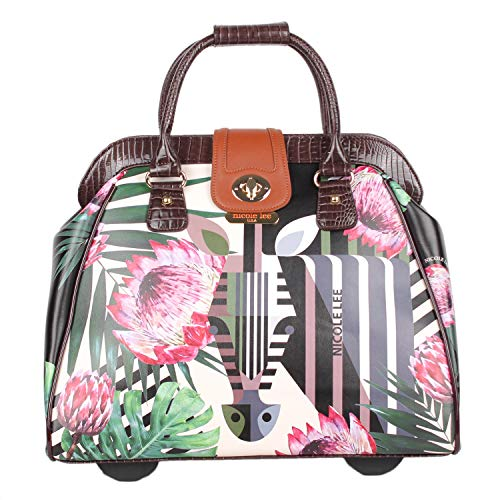 Exclusive Laptop Compartment Rolling Business Tote, Travel Tote With Retractable Handle (Zebra In Paradise)