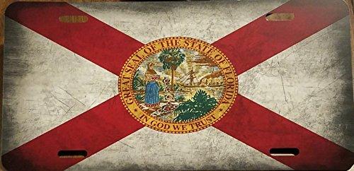 FLORIDA STATE FLAG Custom License Plate Sunshine State Emblem Metal Version