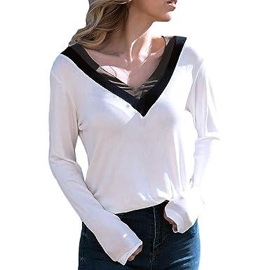 many styles exquisite style nice cheap Coloré(TM T-Shirt Femme Manches Longues Basique Top Haut Col V Tee Shirt  Femme Haut Sport Top Chic
