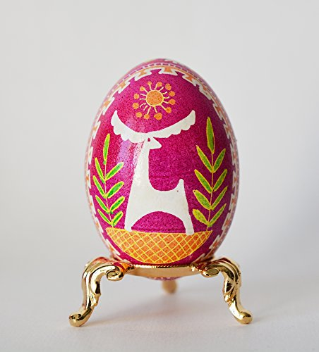 Pink Pysanka, Bold and Beautiful traditional Pysanka patterns, Ukrainian batik pisanki eggs