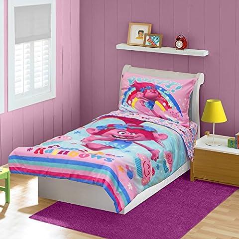 Trolls Cupcakes and Rainbows, Toddler Bed Set, Pink, 4 Count - Pink Cupcake Print