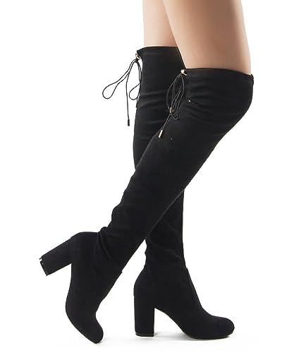 Amazon.com | Women Fashion Comfy Vegan Suede Block Heel Slip On ...