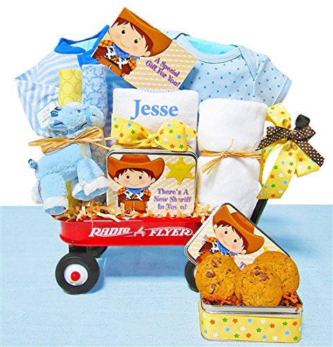 Little Cowboy | Personalized Baby Boy Gift Basket in a Miniature Radio Flyer Wagon