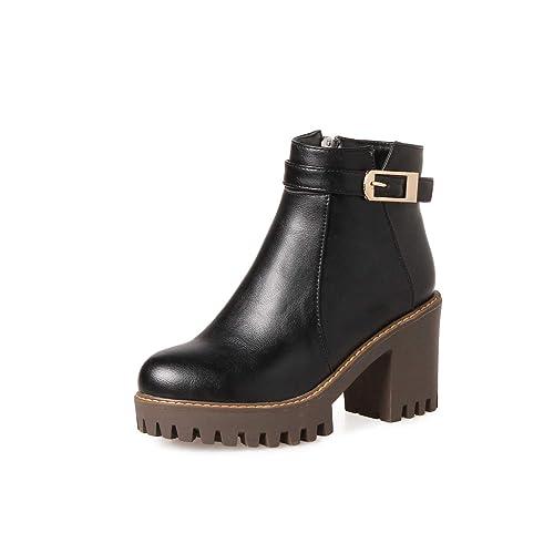 Botines Cortos con tacón Alto y tacón Cuadrado para Mujer: Amazon.es: Zapatos y complementos