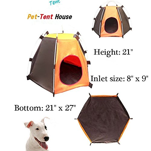 Pet House Folding Cat Dog House Portable Waterproof Pet Tent Indoor & Outdoor Small Animals Shelter Lovely for Small Dog and Cat by ZMVA (Image #1)