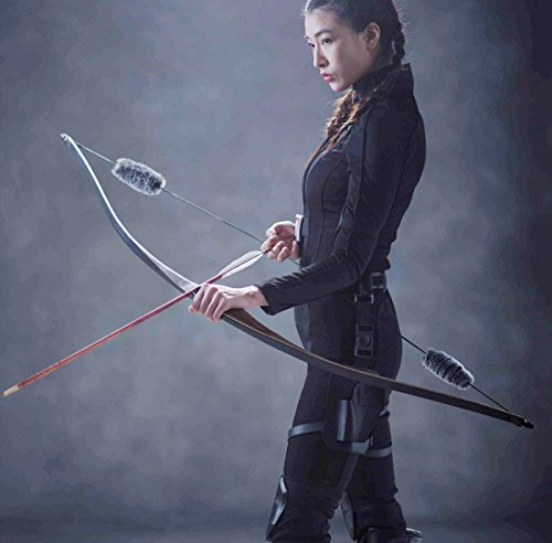 TOPARCHERY Archery Hunting 30lbs Recurve Bow One Piece Traditional Wood Long Bow Targeting Practice Right - Brace Bow Recurve Height