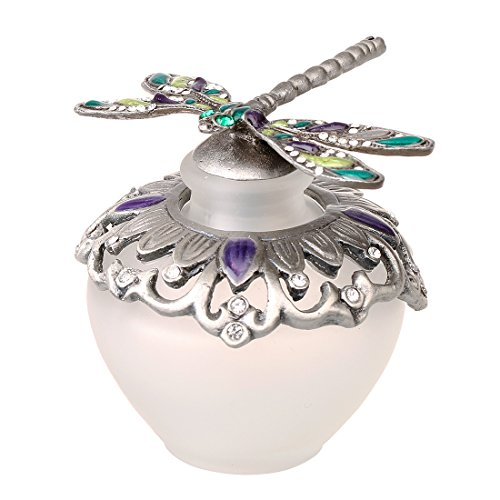 YUFENG 40ml Glass Perfume Bottles, Retro Frosted Dragonfly Lid,Empty Refillable for Travel and Lady Gift(Dragonfly)