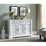 Kings Brand Furniture White Finish Wood Buffet Breakfront Cabinet Console  Table With Storage, Drawers, Shelves