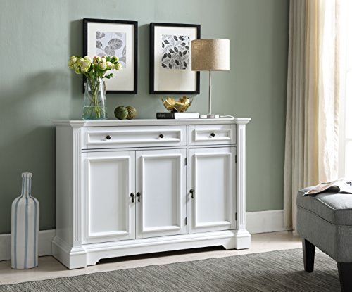 Kings Brand Furniture White Finish Wood Buffet Breakfront Cabinet Console Table With Storage, Drawers, Shelves Buffet Finish