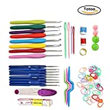 Totoo 16 Pcs Crochet Hook Set Kit Knitting Needles Knit Craft Set with Complete Accessories in Plastic Box