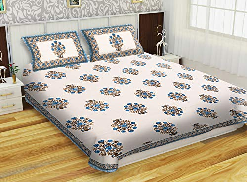 Hand Block Beautiful Small Rose Flower With Leaf Printed Traditional Indian Bed sheets Bedspreads Double Size Bed Cover Bed Tapestry Throw 3Pcs Set King Size Pure Cotton White And Blue - Block Bed Printed Sheet Cotton