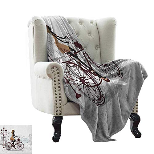 Anyangeight Teen Room, Blankets and Throws, Young Girl in Paris Streets with Bicycle French Style Display, Couch Bed Blankets Mini Size, (W60 x L62 Inch Chestnut and Pale Brown Pearl