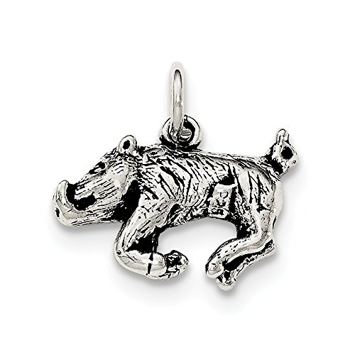 925 Sterling Silver 3 D Wild Boar Pendant Charm Necklace Animal Fine Jewelry Gifts For Women For Her ()