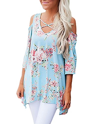 QUEENIE VISCONTI Women Cold Shoulder Tops and Blouses Long Sleeves Floral Strappy Tunic Shirts Blue L