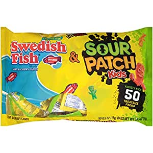 Sour patch kids and swedish fish treat size 50 piece for Swedish fish amazon