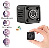 Mini WiFi Spy Camera, Hidden Camera 1080P Resolution with Night Vision, Voice Recorder, and Remote View/Supports 64GB, Wireless, Portable, Magnetic, Outdoor/Indoor Use (Accessories Included)