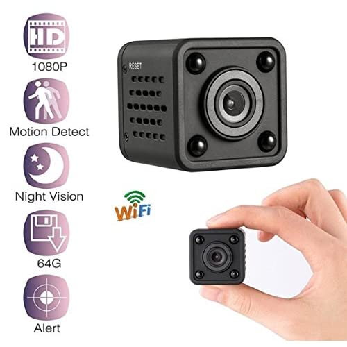 Mini Wifi Spy Camera, Hidden Camera 1080P Resolution with Motion Detection, Night Vision, Voice Recorder, and Remote View/Supports 64GB, Wireless, Magnetic, Outdoor/Indoor Use (Accessories Included)