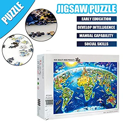 Stoota World Map 1000 Pieces Wooden Jigsaw Puzzles Adults Decompression Toys Learning Educational Game for Kids: Toys & Games