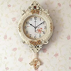 Lomoclock Wall Clock Clock Wall Clocks Silent for Living Room Office Bedroom Bathroom Kitchen Kids Room Mini Simple AA Battery Ø29 cm 16 inch Round Large Retro Nostalgia Vintage White Clock (Gold)