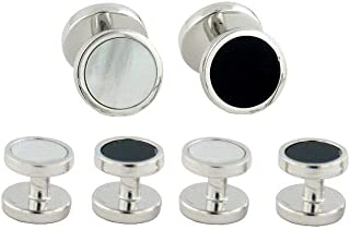 product image for David Donahue Men's Sterling Silver Onyx and Mother of Pearl Reversible Stud Set (SS892302)