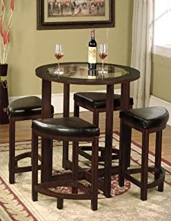 Amazoncom Roundhill Furniture Cylina Solid Wood Glass Top Round - Solid wood round dining table for 4