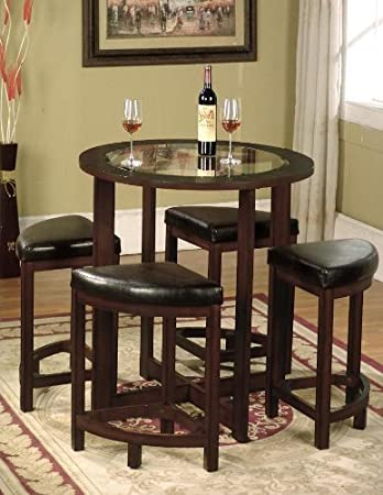 Roundhill Furniture Cylina Solid Wood Glass Top Round Counter Height Table  With 4 Stools